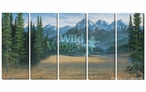 Medium Rocky Mountains Scenic Wrapped Canvas Giclee Wall Art, Set of 5