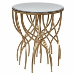 Melrose Gold Squiggly Leg Wood Accent Table with Beveled Mirror