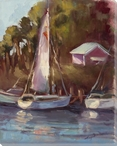 Memories of Hope Town Sailboats Wrapped Canvas Giclee Print