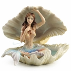Mermaid Sitting in a Seashell Sculpture