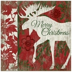 Merry Christmas Moose Vintage Style Wooden Sign