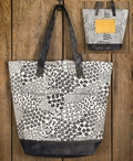Mesa Black and White Fabric and Canvas Grocery Market Tote Bag