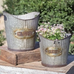 Metal Tapered Garden Pail Planters, Set of 2