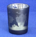 Metallic Haunted House Glass Tea Light Candle Holders, Set of 12