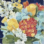Midnight Florals II Wrapped Canvas Giclee Print Wall Art