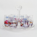 Milano Romanian Crystal Shot Glasses with Plate, Set of 7