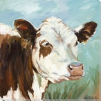Millie Brown and White Cow Wrapped Canvas Giclee Print Wall Art