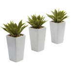 Mini Agave Silk Plant with Planter, Set of 3 White
