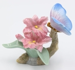 Miniature Butterfly with Orchids Porcelain Sculpture