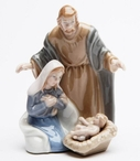 Miniature Caring Holy Family Porcelain Sculpture