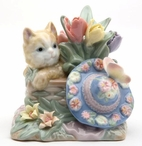 Miniature Cat with Flowers and Hat Porcelain Sculpture