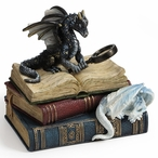 Miniature Scholars Two Dragons and Books Trinket Box