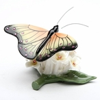 Miniature Yellow Butterfly with Flowers Porcelain Sculpture