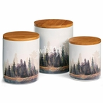 Misty Forest Ceramic Canister Set, Set of 3