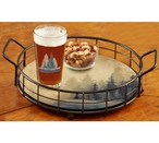 Misty Forest Metal and Wood Serving Trays, Set of 2