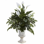 Mixed Greens & Spathiphyllum Silk Plant with Decorative Urn