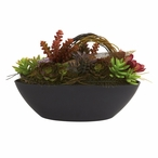Mixed Succulent Silk Plant with Oval Black Container