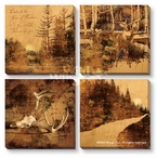 Modern Lodge Collection Sepia-Toned Canvas Giclee Art Print, Set of 4