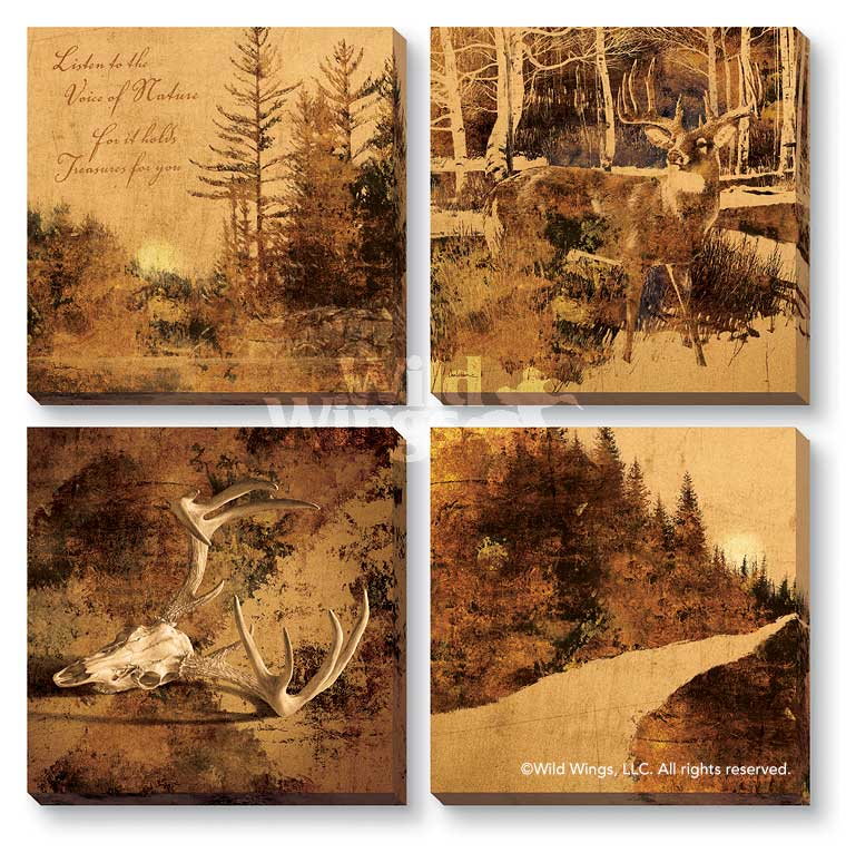 Modern Lodge Collection Sepia-Toned Wrapped Canvas Giclee Print Wall ...