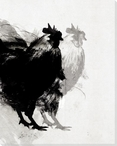 Modern Rooster Birds 1 Wrapped Canvas Giclee Print Wall Art