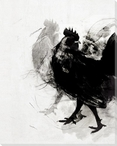 Modern Rooster Birds 3 Wrapped Canvas Giclee Print Wall Art