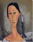 Modigliani Study with Candlestick Wrapped Canvas Giclee Print