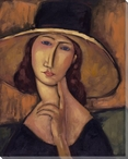 Modigliani Study w/ Yellow Brimmed Hat Wrapped Canvas Giclee Art Print