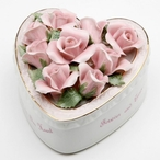Mom Heart with Flowers Musical Music Box Sculpture