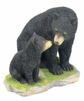 Momma Black Bear Sitting with Her Cub Sculpture