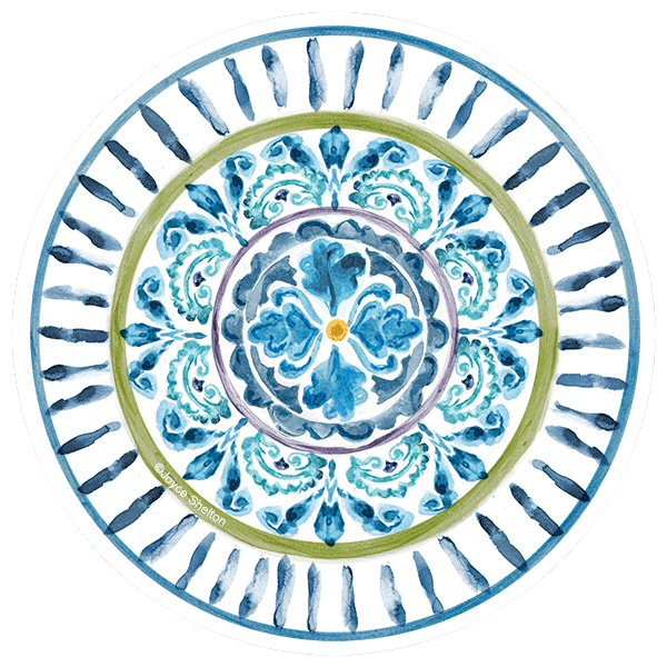 Mood indigo i absorbent round beverage coasters by joyce shelton set of 8 drink coasters - Drink coasters absorbent ...
