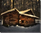 Moonlight Cabin Wrapped Canvas Giclee Print Wall Art