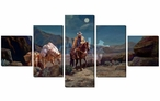 Moonlit Silence Cowboy and Horses Wrapped Canvas Giclee Art, Set of 5