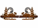 Burnished Moose and Pine Trees Metal Curtain Rod Holders
