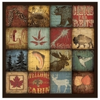 Moose Bear Sixteen Patch Absorbent Beverage Coasters, Set of 8