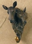 Moose Cow and Calf Hand Painted Sculpted Single Wall Hooks, Set of 3