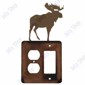 Moose Double Metal Outlet Cover with Single Rocker