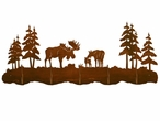 Moose Family and Pine Trees Scenic Five Hook Metal Wall Coat Rack