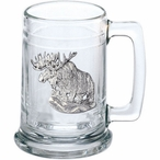 Moose Glass Beer Mug with Pewter Accent