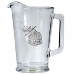 Moose Glass Pitcher with Pewter Accent
