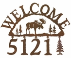 Moose Metal Address Welcome Sign