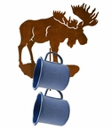 Moose Metal Mug Holder Wall Rack