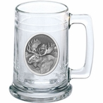 Moose Oval Glass Beer Mug with Pewter Accent