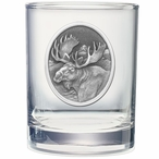Moose Oval Pewter Accent Double Old Fashion Glasses, Set of 2