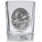 Moose Oval Pewter Accent Shot Glasses, Set of 4
