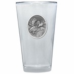 Moose Oval Pint Beer Glasses with Pewter Accent, Set of 2