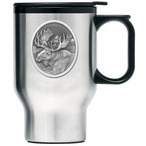 Moose Oval Stainless Steel Travel Mug with Handle and Pewter Accent