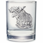 Moose Pewter Accent Double Old Fashion Glasses, Set of 2