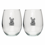 Moose Pewter Accent Stemless Wine Glass Goblets, Set of 2
