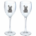 Moose Pewter Accent Wine Glass Goblets, Set of 2
