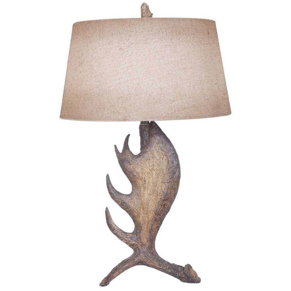 Moose shed antler resin table lamp with antique burlap shade moose shed antler resin table lamp with antique burlap shade aloadofball Gallery